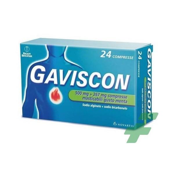 GAVISCON -  500 MG + 267 MG COMPRESSE MASTICABILI GUSTO MENTA  24 COMPRESSE IN BLISTER