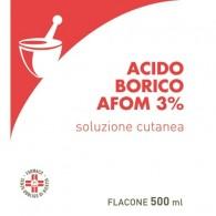 ACIDO BORICO AFOM 3% SOLUZIONE CUTANEA -  3% SOLUZIONE CUTANEA 1 FLACONE DA 500 ML