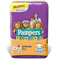 PAMPERS PROGRESSI EXTRALARGE PANNOLINO 6+ 16+KG 18 PEZZI